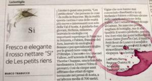 Articolo la Repubblica 2018 con macchia di vino